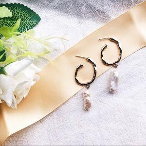 New💕Freshwater Pearl Gold Hoop Drop Earrings